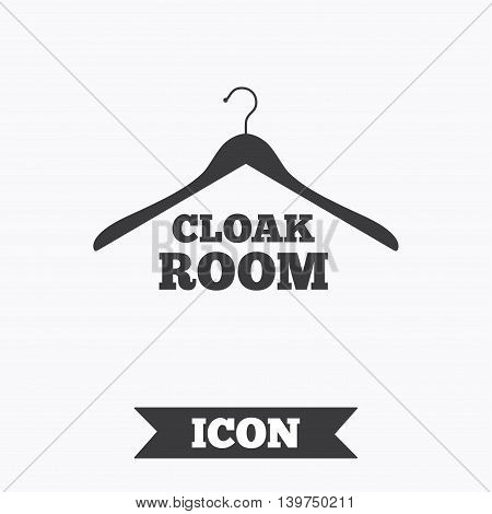 Cloakroom sign icon. Hanger wardrobe symbol. Graphic design element. Flat cloakroom symbol on white background. Vector