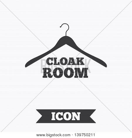 Cloakroom sign icon. Hanger wardrobe symbol. Graphic design element. Flat cloakroom symbol on white background. Vector