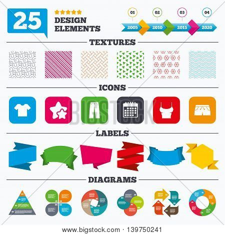 Offer sale tags, textures and charts. Clothes icons. T-shirt and pants with shorts signs. Swimming trunks symbol. Sale price tags. Vector