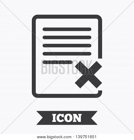 Delete file sign icon. Remove document symbol. Graphic design element. Flat delete symbol on white background. Vector