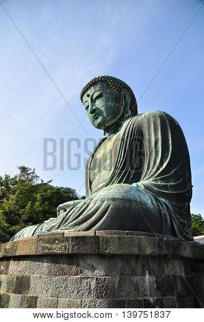 Close-up to Kamakura Daibutsu at Japan temple