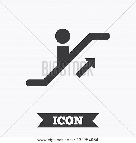 Escalator staircase icon. Elevator moving stairs up symbol. Graphic design element. Flat escalator staircase symbol on white background. Vector