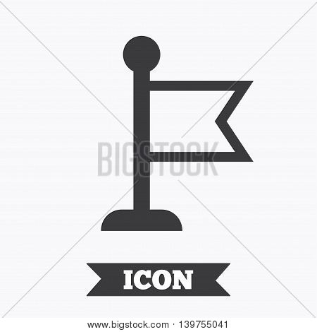Flag pointer sign icon. Location marker symbol. Graphic design element. Flat flag symbol on white background. Vector