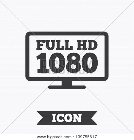 Full hd widescreen tv sign icon. 1080p symbol. Graphic design element. Flat full hd symbol on white background. Vector