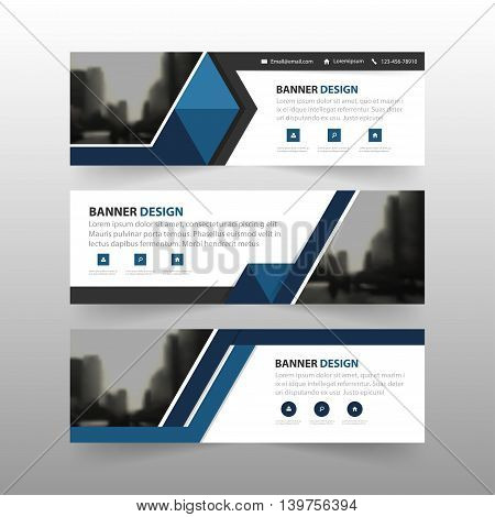 Blue black triangle corporate business banner template horizontal advertising business banner layout template flat design set clean abstract cover header background for website design