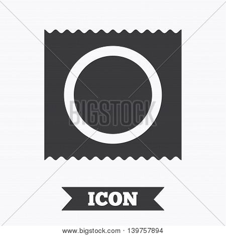 Condom in package safe sex sign icon. Safe love symbol. Graphic design element. Flat condom symbol on white background. Vector