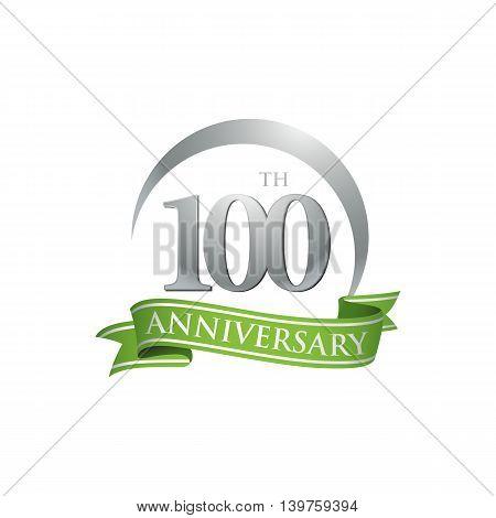 100th anniversary green logo template. Creative design. Business success