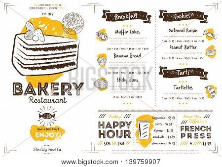 Bakery restaurant menu design. Bakery cafe menu. Food menu template. Bakery restaurant flyer vintage design vector illustration. Gourmet menu board. Bakery cafe flyer. Hand drawings bakery elements. Vintage menu. Menu card.
