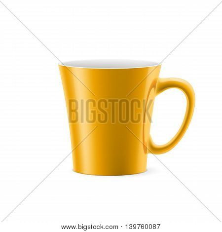 Orange cup with tapered bottom stay on white background
