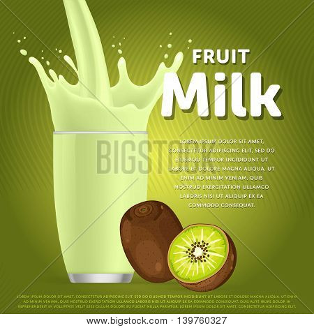 Kiwi sweet milkshake dessert cocktail glass fresh drink in cartoon vector illustration. Fruit milk splash. Milk cocktail dessert. Delicious drink. Glass of fruit milkshake. Sweet milk drink. Milk splash in a glass. Milkshake.