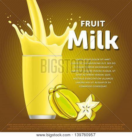 Star fruit sweet milkshake dessert cocktail glass fresh drink in cartoon vector illustration. Fruit milk splash. Milk cocktail dessert. Delicious drink. Glass of fruit milkshake. Sweet milk drink. Milk splash in a glass. Milkshake.