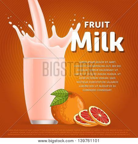 Grapefruit sweet milkshake dessert cocktail glass fresh drink in cartoon vector illustration. Fruit milk splash. Milk cocktail dessert. Delicious drink. Glass of fruit milkshake. Sweet milk drink. Milk splash in a glass. Milkshake.