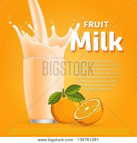 Orange sweet milkshake dessert cocktail glass fresh drink in cartoon vector illustration. Fruit milk splash. Milk cocktail dessert. Delicious drink. Glass of fruit milkshake. Sweet milk drink. Milk splash in a glass. Milkshake.