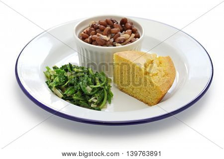 beans and greens with cornbread, southern cooking