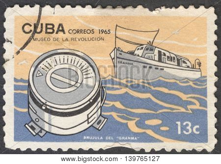 MOSCOW RUSSIA - JANUARY 2015: a post stamp printed in CUBA shows a compass Granma the series