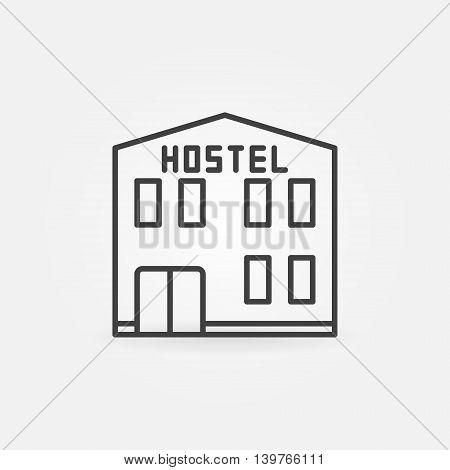 Hostel building icon - vector thin line city hostel hotel sign or symbol