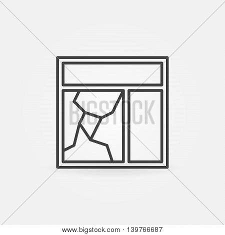 Broken window glass pane icon. Vector thin line broken window concept symbol or logo element