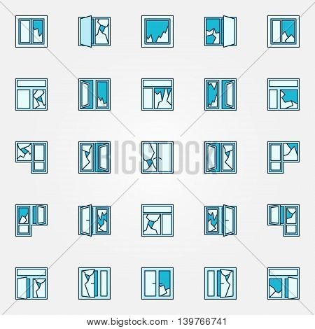 Colorful broken glass icons. Vector collection of colorful blue broken windows signs or symbols
