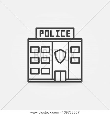 Police station building icon - vector police linear symbol. Police department outline sign