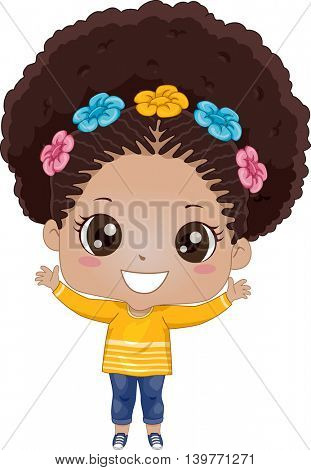 Illustration of an African American Girl Waving Happily