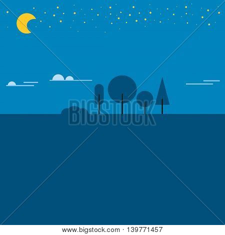 Summer night landscape color scene twilight. Dark tree summer beautiful vector space night landscape at night in full moon light. Nature light blue background night landscape dark tree, summer night.