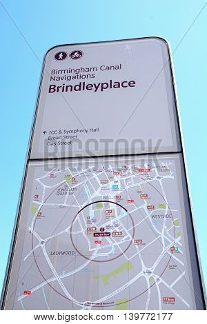 BIRMINGHAM, UNITED KINGDOM - JUNE 6, 2016 - Brindleyplace canal sign and map Birmingham England UK Western Europe, June 6, 2016.