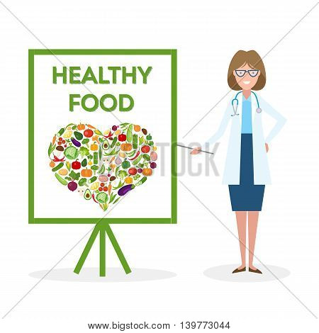 Doctor with healthy food banner. Nutritionist shows how to eat clean and fresh food. Green vegetables for body. Heart-shaped silhouette.