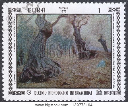 MOSCOW RUSSIA - CIRCA FEBRUARY 2016: a post stamp printed in CUBA shows painting by D. Ramoz the series