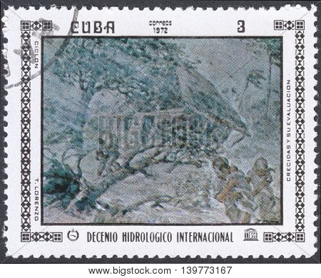 MOSCOW RUSSIA - CIRCA FEBRUARY 2016: a post stamp printed in CUBA shows painting by T. Lorenzo the series