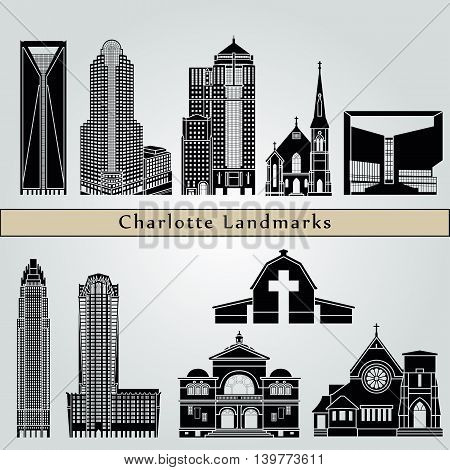 Charlotte landmarks and monuments isolated on blue background in editable vector file