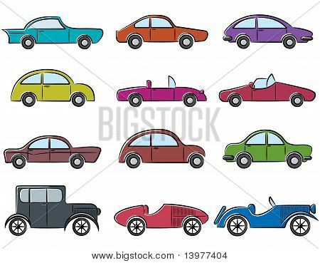 Vintage Cars Icons Set