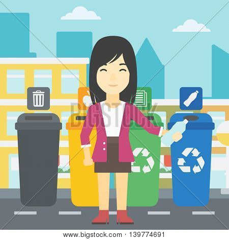 An asian woman throwing away plastic bottle. Woman standing near four bins in the city and throwing away plastic bottle in an appropriate bin. Vector flat design illustration. Square layout.