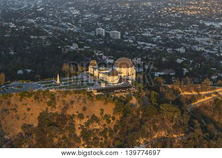 Last afternoon light on the CIty of Los Angeles's Griffith Park Observatory.