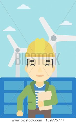 An asian worker of solar power plant and wind farm. Man with folder on background of solar panel and wind turbine. Green energy concept. Vector flat design illustration. Vertical layout.