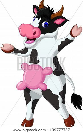 cute cow cartoon standing for you design