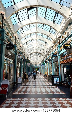 BIRMINGHAM, UNITED KINGDOM - JUNE 6, 2016 - Shoppers walking through the Burlington Arcade Birmingham England UK Western Europe, June 6, 2016.