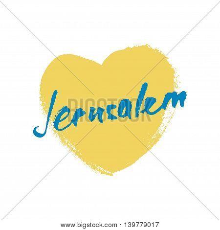 Jerusalem greetings hand lettering. Calligraphy Hand-lettering greetings
