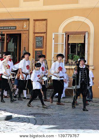 CESKY KRUMLOV, CZECH REPUBLIC - JUNE 18, 2016: Five-petalled Rose Festival on bystreet in Cesky Krumlov