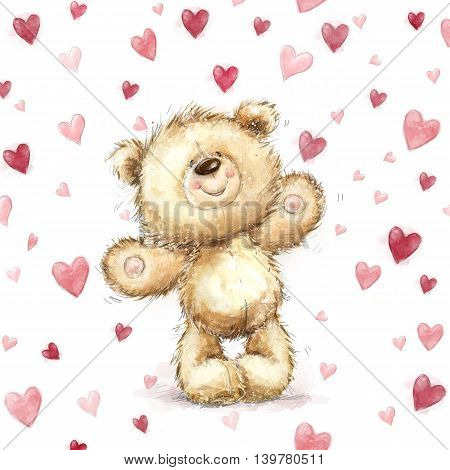 Teddy bear with  red hearts.Valentines greeting card. Love design.Love.I love You card. Love poster. Valentines day poster. teddy, cute, poster, love background, heart background, forever love, heart