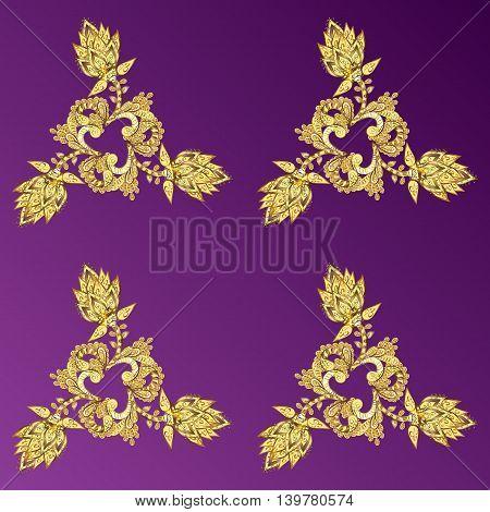 Vintage pattern on pink gradient background with golden elements. Vector illustration.