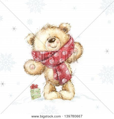 Cute teddy bear with the  gift .Childish illustration in sweet colors.Background with bear and gift. Hand drawn teddy bear.Christmas greeting card. Merry Christmas. New year