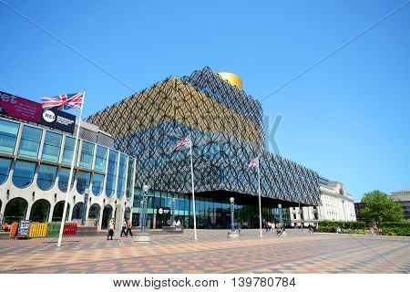 BIRMINGHAM, UNITED KINGDOM - JUNE 6, 2016 - Front view of the Library of Birmingham with the Rep to the left hand side in Centenary Square Birmingham England UK Western Europe, June 6, 2016.