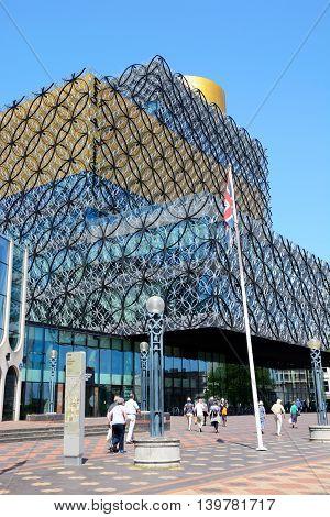 BIRMINGHAM, UNITED KINGDOM - JUNE 6, 2016 - Front view of the Library of Birmingham in Centenary Square Birmingham England UK Western Europe, June 6, 2016.