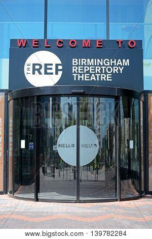BIRMINGHAM, UNITED KINGDOM - JUNE 6, 2016 - Front entrance to the Birmingham Repertory Theatre Birmingham England UK Western Europe, June 6, 2016.