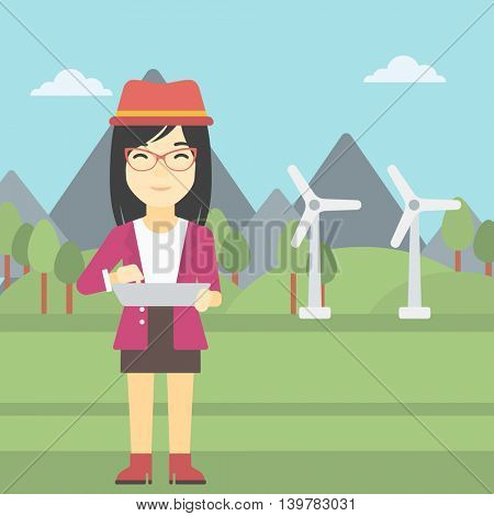 An asian woman holding a laptop hands on a background with solar pannels and wind turbins. Woman working on computer. Vector flat design illustration. Square layout.