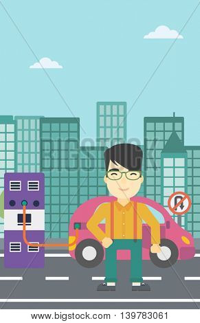 An asian man charging electric car at charging station in the city. Man standing near power supply for electric car charging. Vector flat design illustration. Vertical layout.