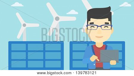 An asian worker of solar power plant and wind farm. Man working on laptop on a background of solar power plant and wind turbines. Vector flat design illustration. Horizontal layout.