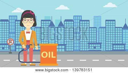 An asian woman standing near oil barrel. Woman holding gas pump nozzle on a city background. Woman with gas pump and oil barrel. Vector flat design illustration. Horizontal layout.