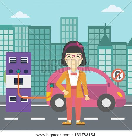 An asian young woman charging electric car at charging station in the city. Woman standing near power supply for electric car charging. Vector flat design illustration. Square layout.
