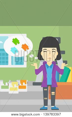 A doubtful asian woman choosing color for walls in apartment. Woman with spread arms choosing a color of paint. Vector flat design illustration. Vertical layout.